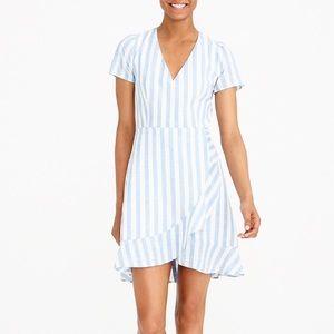 J. Crew striped faux wrap dress